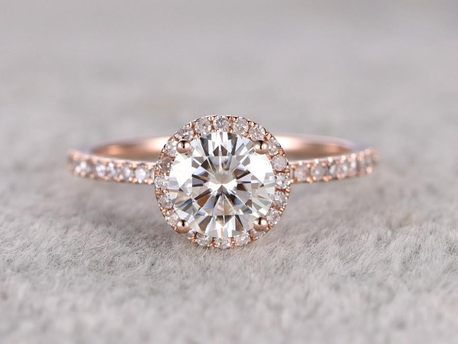 1ct Brilliant Moissanite Engagement Ring Rose Gold,Diamond