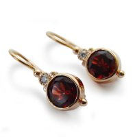 Round Gemstone Gold Earrings, 14K Gold Dangle Earrings ...