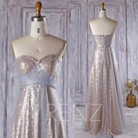 2016 Light Blue Mesh Bridesmaid Dress Long, Tan Sequin ...