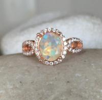 Natural Opal Engagement Ring, Rose Gold Opal Ring, Promise