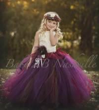 Chocolate Plum Flower Girl Dress Ivory Lace Dress Tulle ...