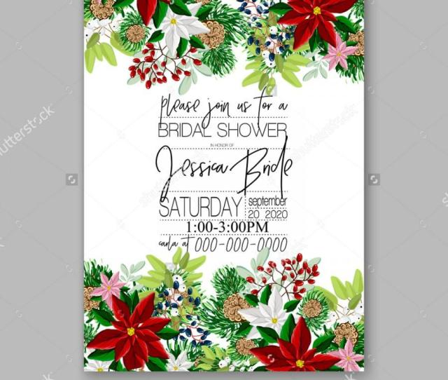 Bridal Shower Invitation Card Template With Winter Bridal Bouquet Wreath Flower Poinsettia Merry Christmas Party Invitation Baby Shower Invitation Thank You