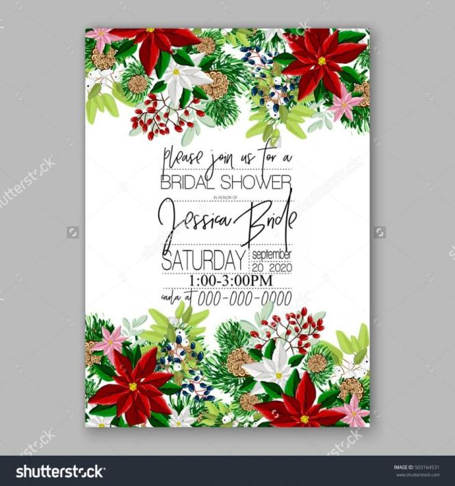 White Snowflakes On Red Christmas Bridal Shower Card