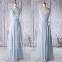 2016 Light Blue Chiffon Bridesmaid Dress, V Neck Wedding ...