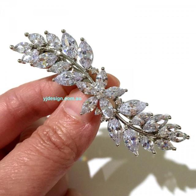 cz bridal hair jewelry, wedding hair clip, leaf bridal