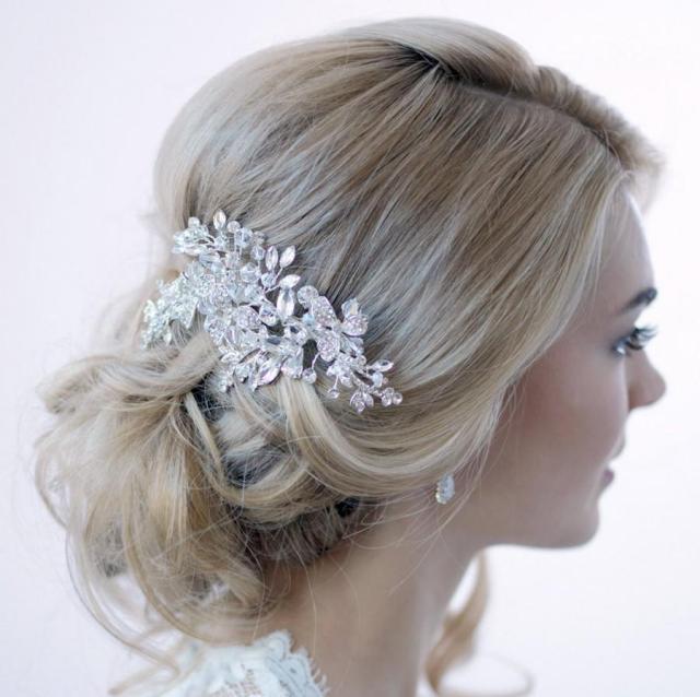 swarovski crystal hair clip, silver hair clip, bridal hair