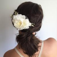 Ivory Flower Comb- Bridal Hair Comb- Ivory Wedding ...