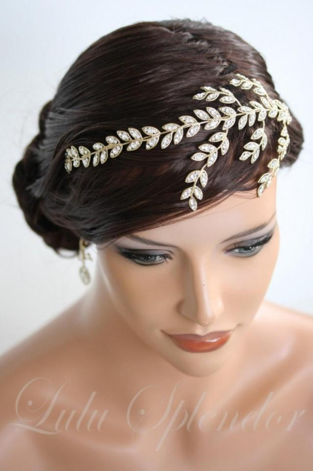 gold headband crystal leaf wedding headband crystal leaves