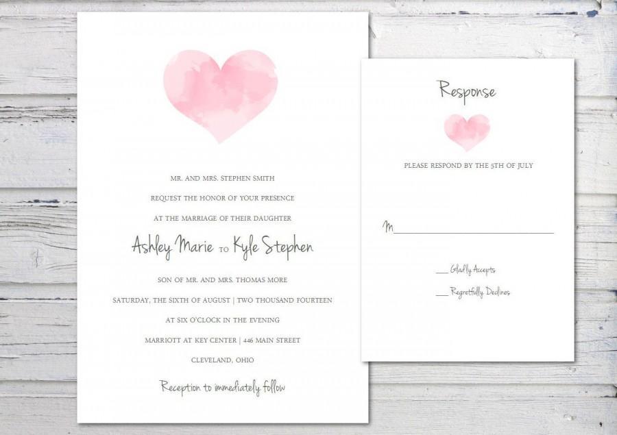 Digital Wedding Invitation Printable Invitation Template Watercolor Heart Pink Simple
