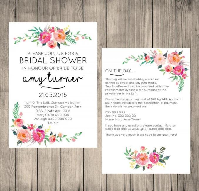 Design an e invitation card newsinvitation bridal shower digital invitation customised fl design 5x7 invite information card file filmwisefo