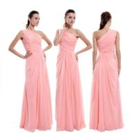Peach Pink One Shoulder Bridesmaid Dress, Floor-Length ...