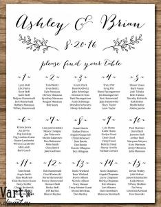 Wedding seating chart plan chalkboard rustic alphabetical or by table number also rh weddbook
