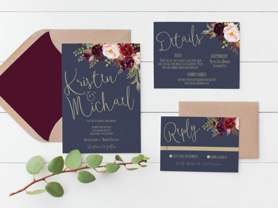 Printable Wedding Invitation  Wedding Invitations Navy Gold Wedding Invitation Digital