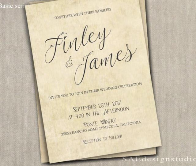 Printed Country Rustic Wedding Invitation Rsvp W Both Envelopes Large Script Or Remove Top Line Font Names Romantic Elegant Script
