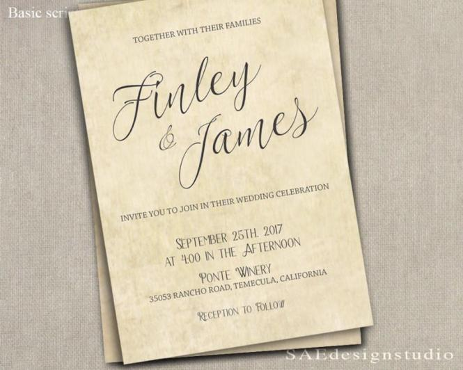 Printed Country Rustic Wedding Invitation Rsvp W Both