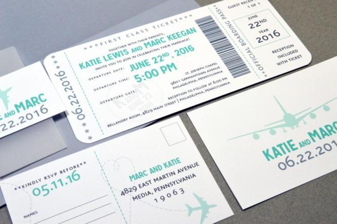 Wedding Invitations Plane Ticket Invite