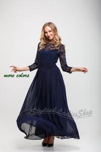 Navy Blue Long Bridesmaid Dress , Lace Bridesmaid Dress ...