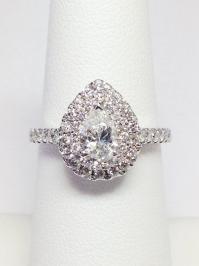 1.00CT Diamond Pear Shape Double Halo Engagement Ring ...