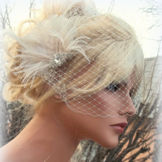 wedding hair accessories bridal veil great gatsby style french net veil ivory feather hair clip bridal hair comb wedding hair clip ivory