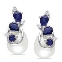 Miadora 10k White Gold Cultured Freshwater Pearl, Sapphire ...