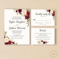 Bohemian Wedding Invitation Suite, Fall Wedding Invitation ...