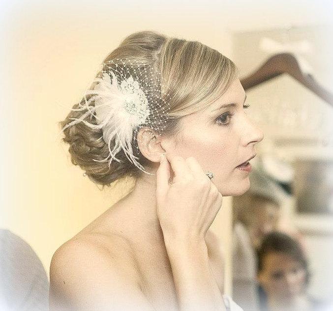 wedding fascinator bridal hair clip and french net wedding veils 2pc vintage style wedding bridal veil wedding accessories bridal comb