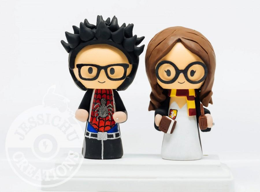 Spiderman Groom And Hermione Bride Harry Potter Wedding Cake Topper