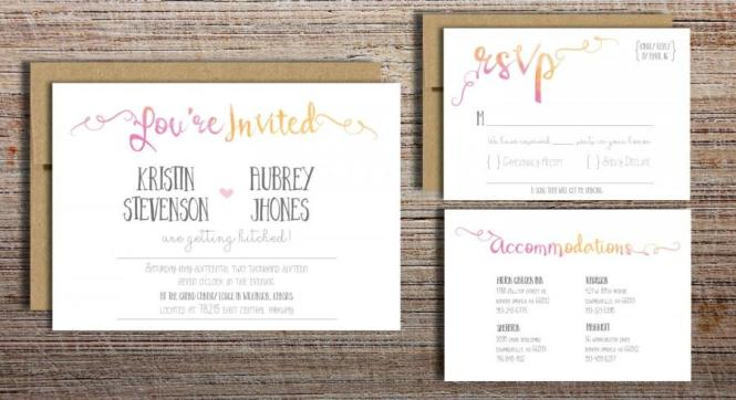Beautiful Chic Wedding Invitation Sets In Grey And White With Pops Of Pink Yellow