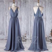 2016 V Neck Chiffon Bridesmaid Dress, Steel Blue Wedding ...