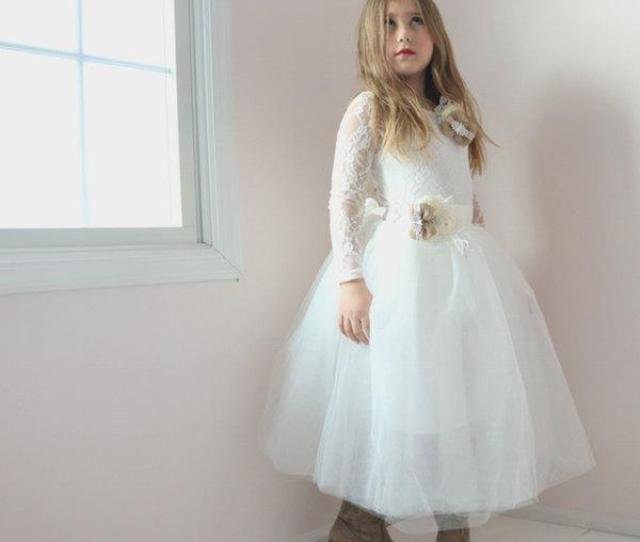 0104d5226d0 Long Sleeve Flower Girl Dress Lace Leotard Tulle Tutu Skirt Flower Girl  Dress Rustic Flower Girl