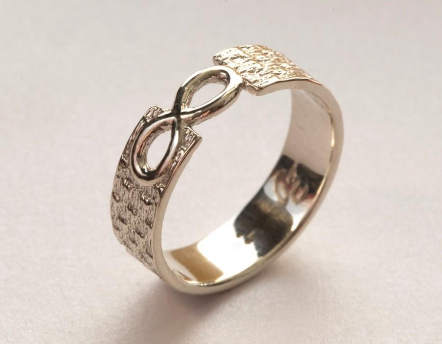 Men's Infinity Ring, White Gold Infinity Ring, Infinity