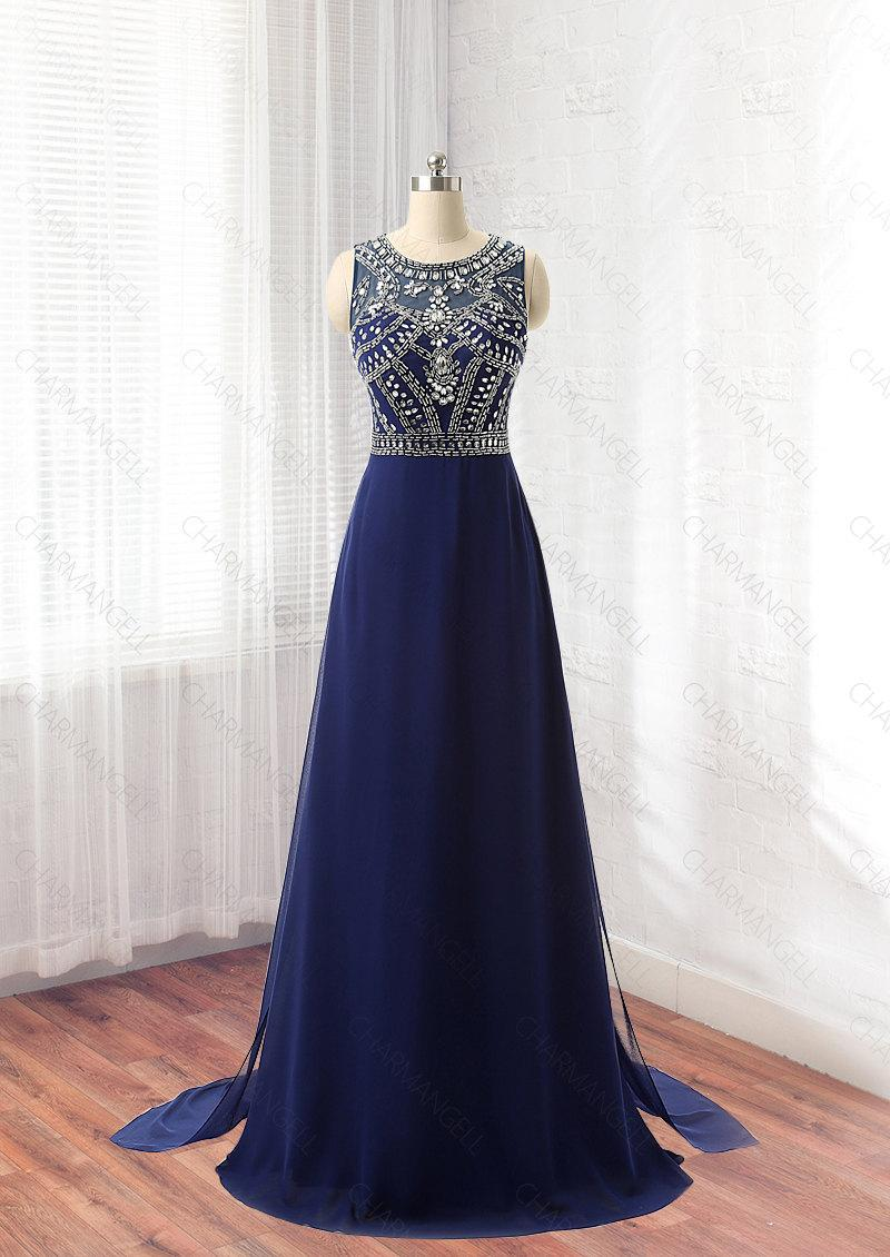 Navy Blue Prom Dress, Formal Dress, Evening Dress
