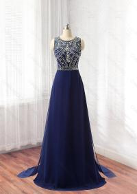 Navy Blue Prom Dress, Formal Dress, Evening Dress ...