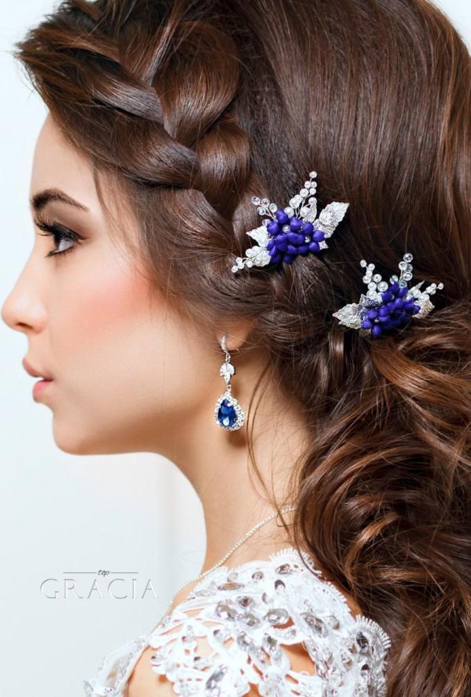 blue hair pins flower hair pins pearl bridal hair pins navy