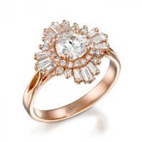 Vintage Engagement Ring, Unique Engagement Ring, Baguette ...