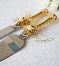 Gold Wedding Cake Server Set & Knife Cake Cutting Set ...