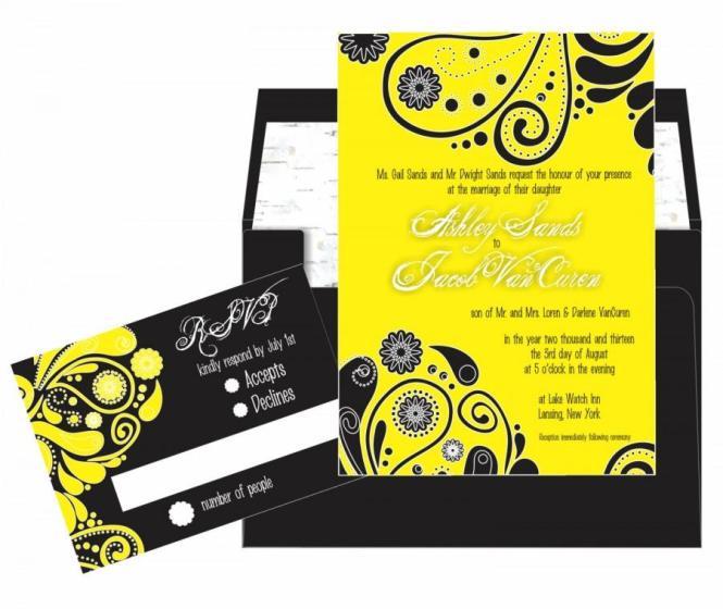 Yellow Black Paisley Wedding Invitation Suite 5x7
