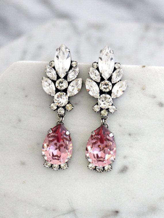 Blush Chandelier Earrings Pink Long Bridal Dangle Drop Antique Vintage