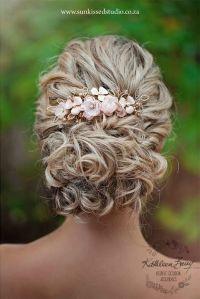 Rose Gold Hair Comb Hairpiece Blush Pink - Wedding Bridal ...