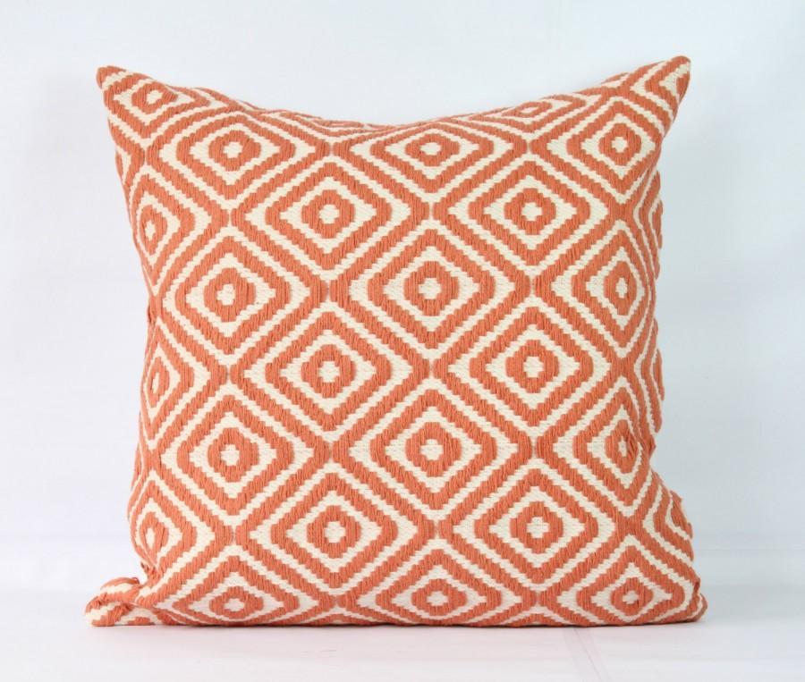 Coral Throw Pillow Case 20x20 Decorative Boho Pillowcase