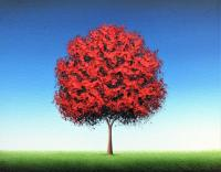 ORIGINAL Oil Painting, Colorful Landscape, Red Tree ...