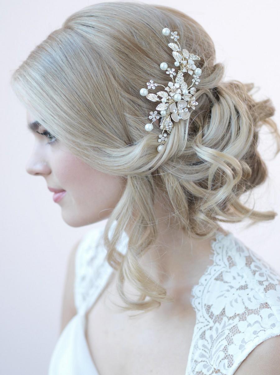 gold bridal hair clip floral bridal hair clip hair clips for weddings pearl hair clip rhinestone bridal clip gold headpiece tc 2272 g