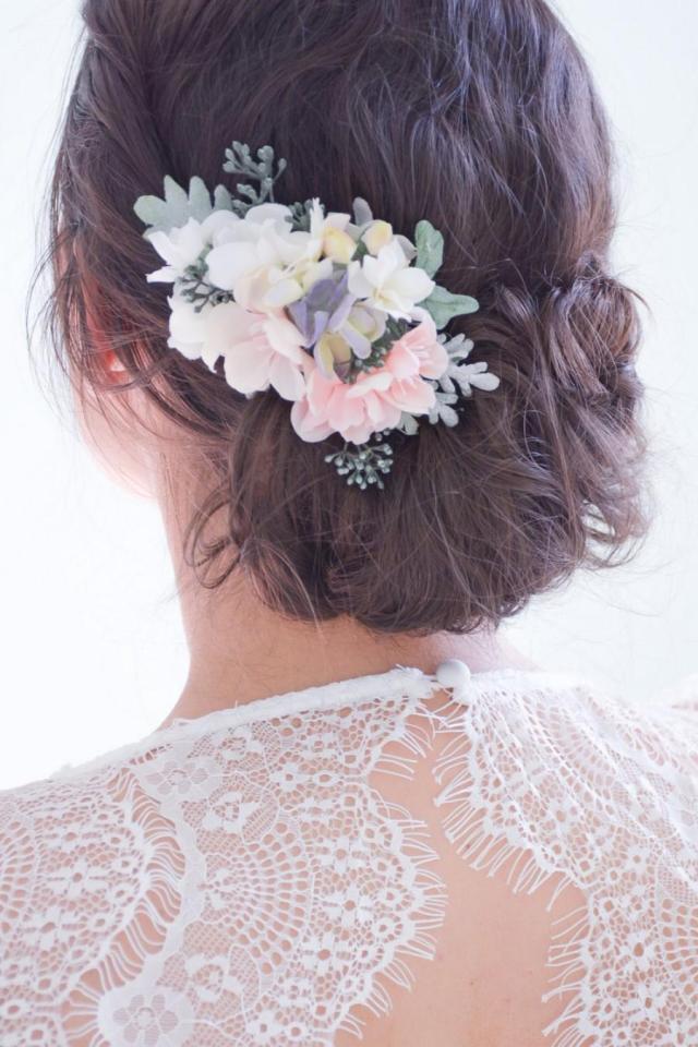 flower hair clip, pink hair flowers, floral hair pin, pink