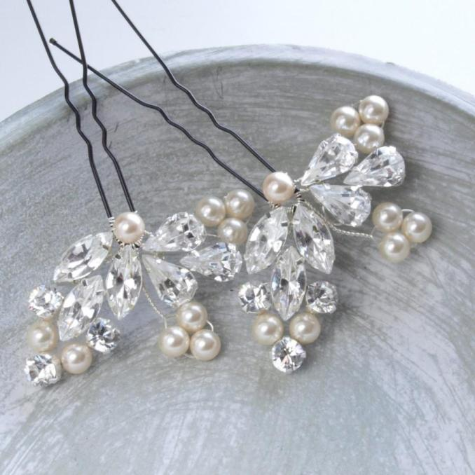 crystal diamante pearl bridal hair pin leaf floral wedding