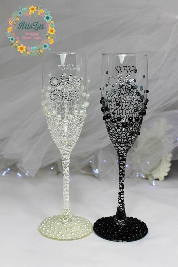 Personalized Wedding Champagne Glasses In Ivory Black-hand