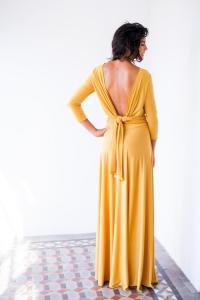 Long Sleeve Evening Dress, Mustard Maxi Dress, Long Sleeve ...
