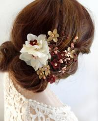 Burgundy And Gold Wedding Hair Clip, Burgundy Hair Flower ...