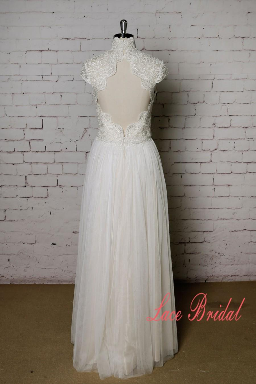 High Collar Wedding Dress With Cap Sleeves Champagne