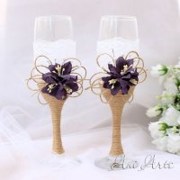 Rustic Wedding Set Burlap And Lace Toasting Flutes Wedding