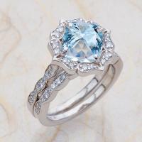 Vintage Floral Scalloped Bridal Set Aquamarine Engagement ...